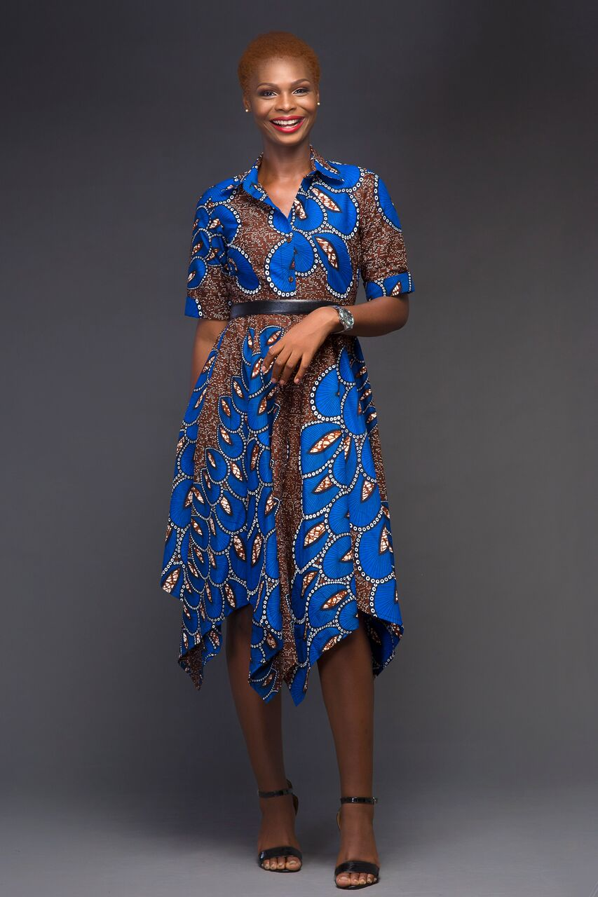 Robe en pagne bleue